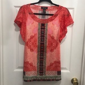 Small Orange Butterfly Sleeve Style & Co Top